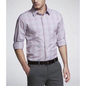 Express Modern Fit Grey Plaid Shirt